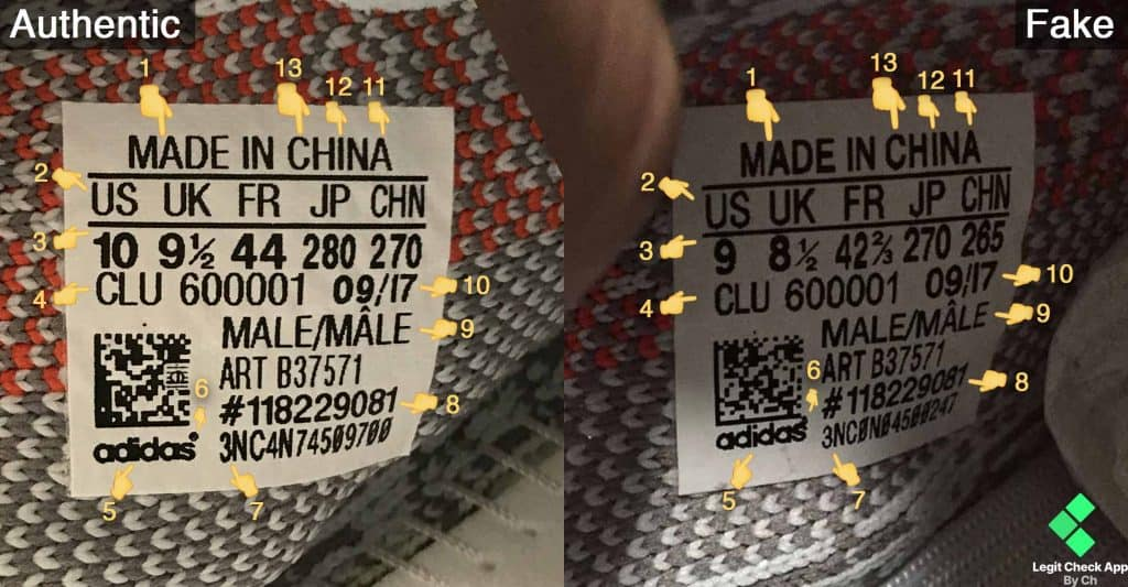 Yeezy Boost 350 V2 Blue Tint Size Tag Fake Vs Real