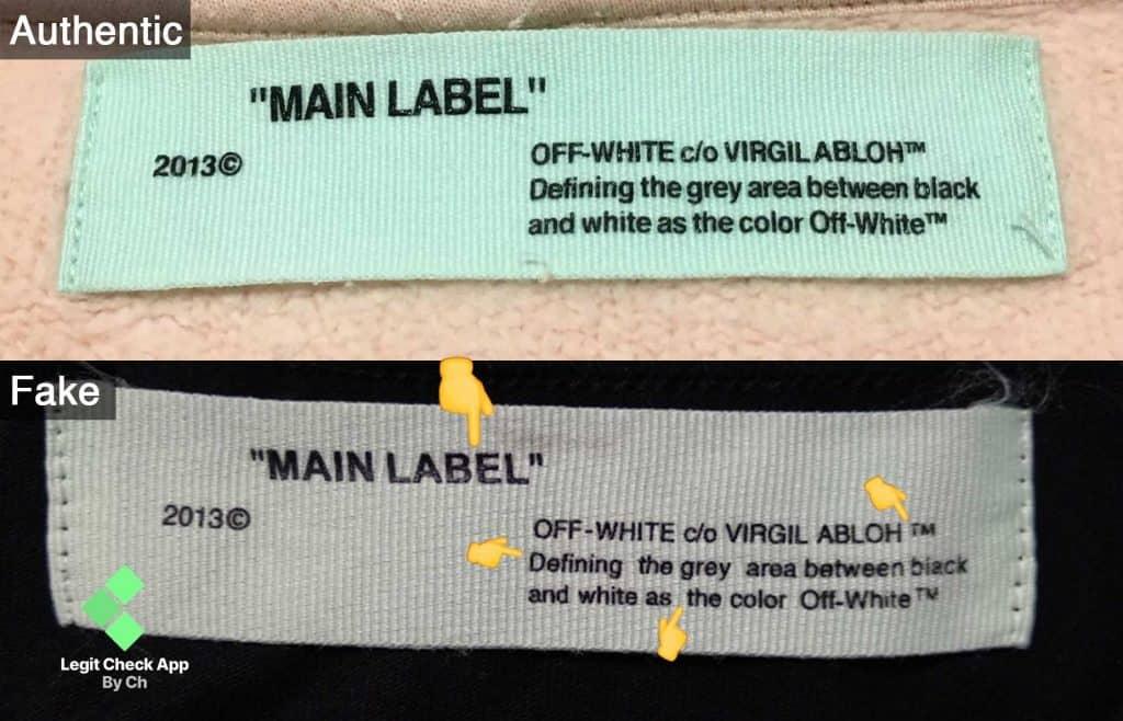 Fake vs replica Off White main label