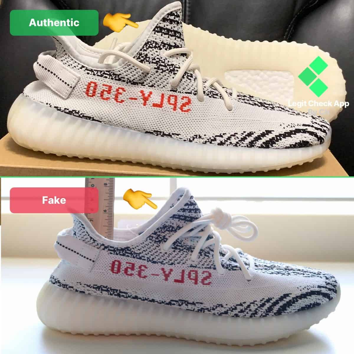 detailed look b1fdc e7bc6 Yeezy Boost 350 V2 Zebra Fake Vs Real Legit Check Guide