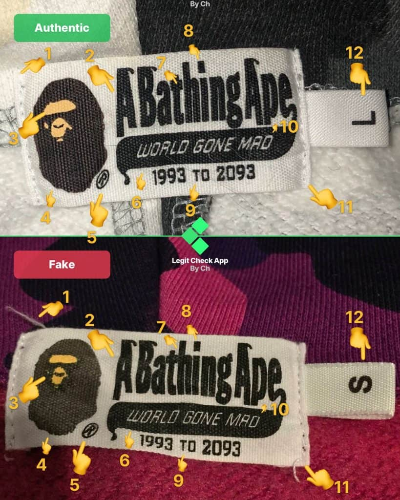 Real vs fake Bape neck tag