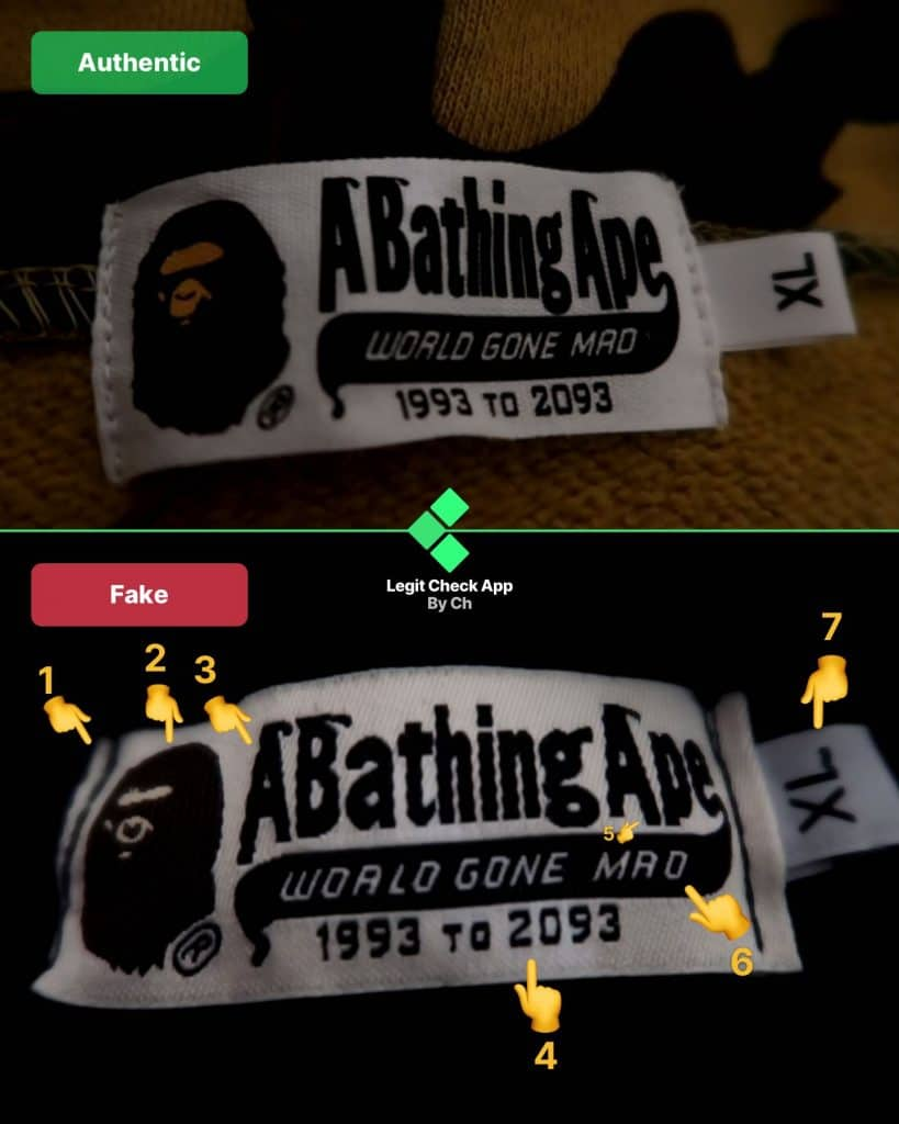 Real vs fake Bape camo tag