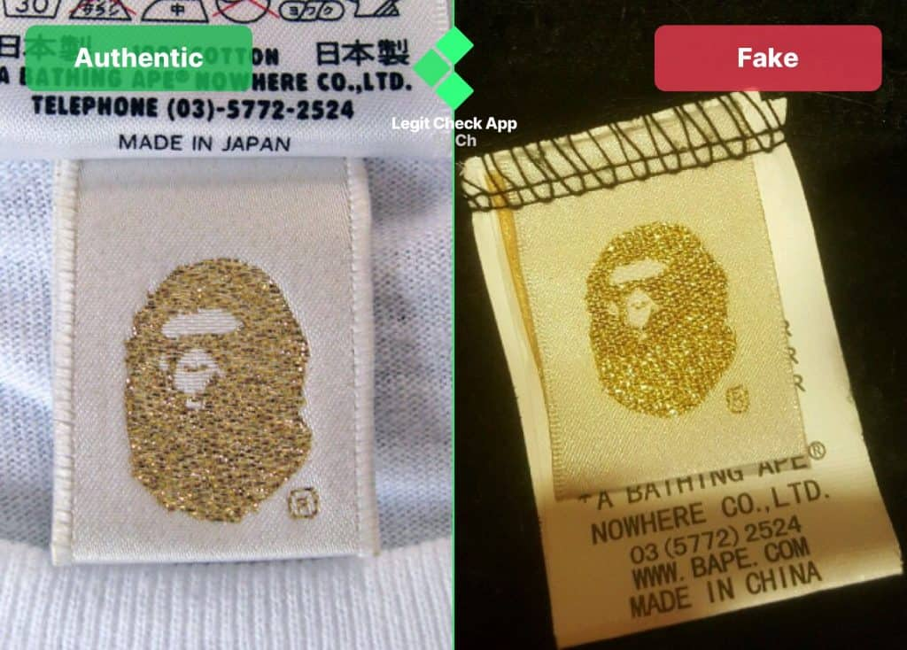 bape gold tag real vs fake