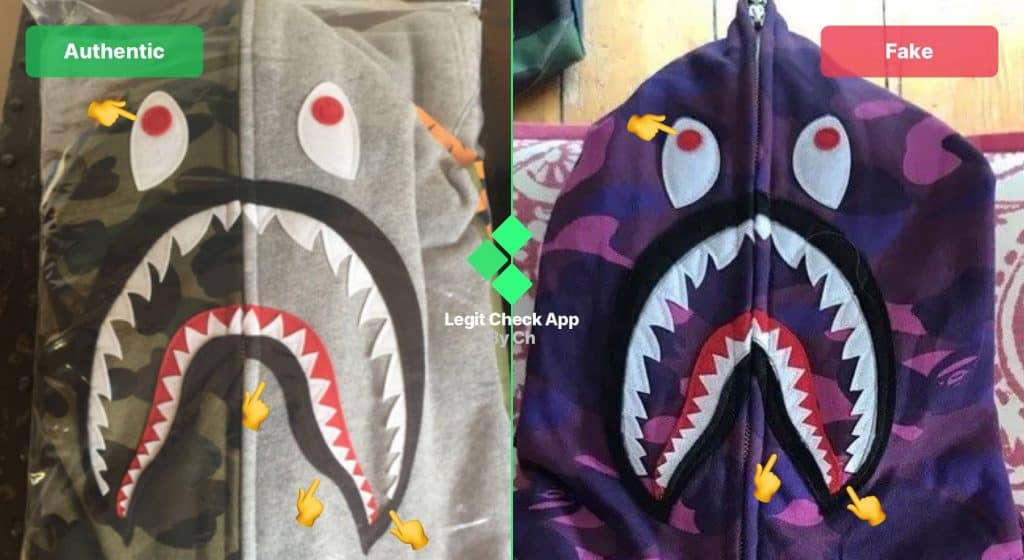 Bape shark fake vs real