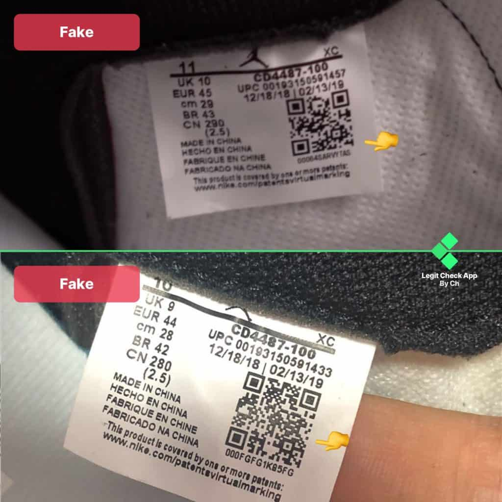 Air Jordan 1 Travis Scott size tag real vs fake