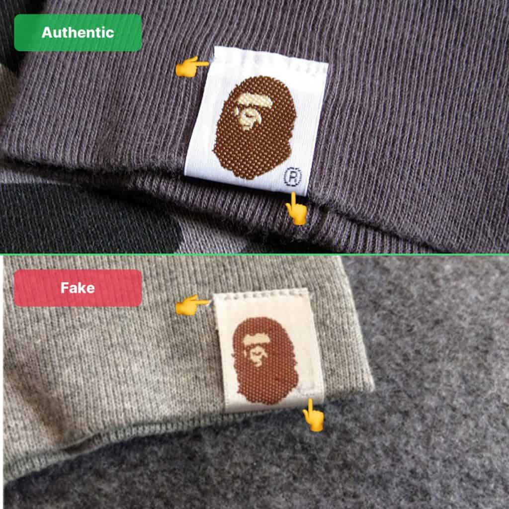 Bape sleeve tag fake vs real
