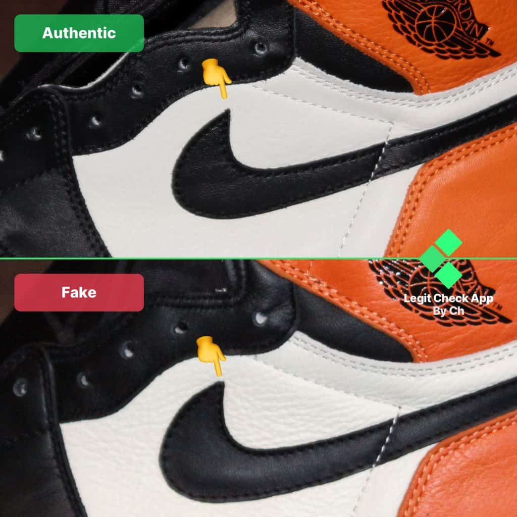 nike swoosh jordan 1 authentic vs replica