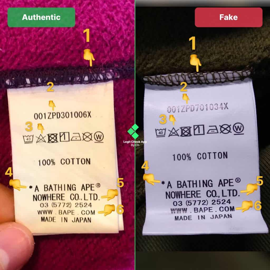 Real vs fake Bape wash tag