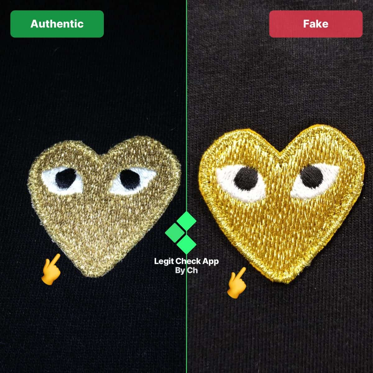 How To Spot Fake Comme Des Garcons Heart - Real Vs Fake CDG Heart