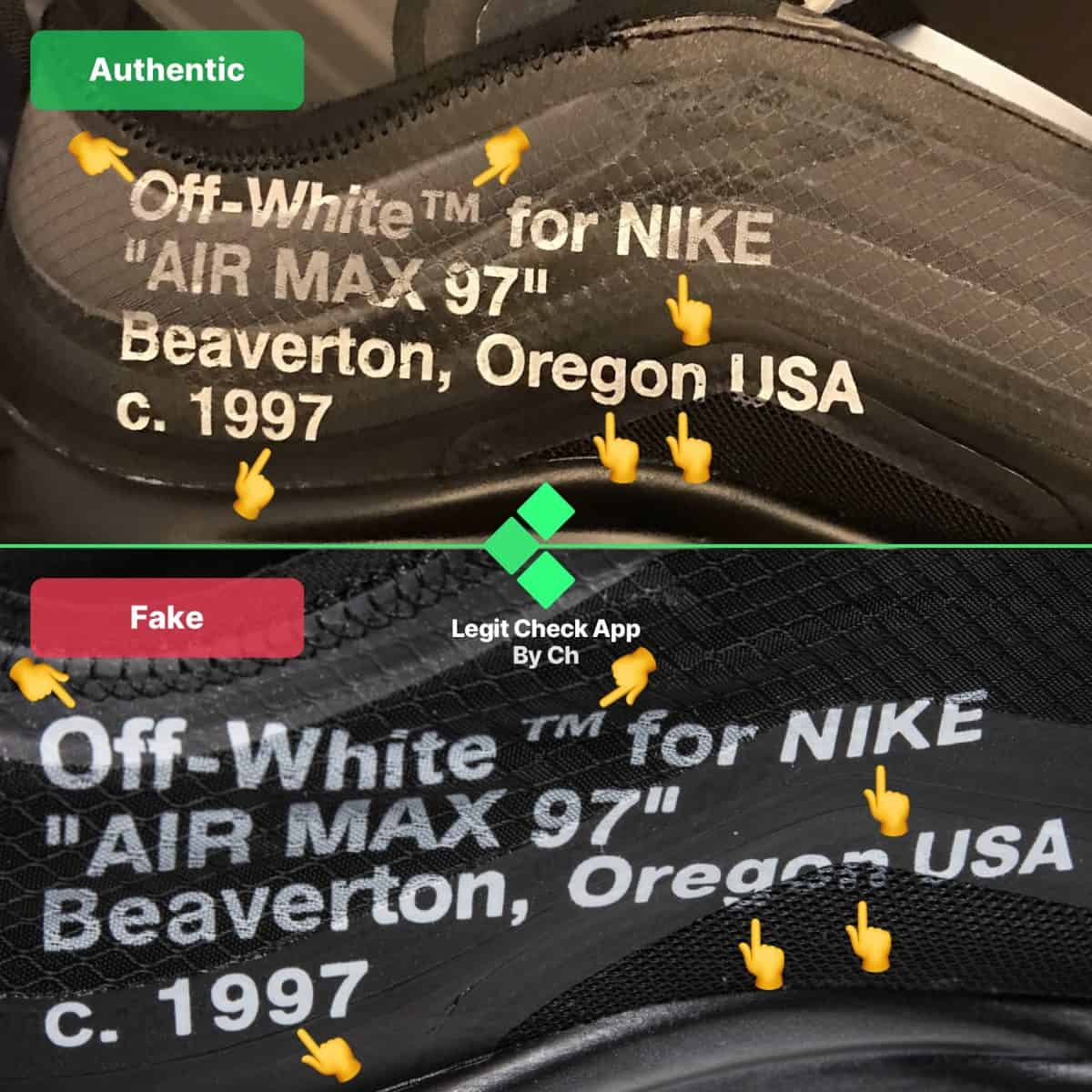 Off-White Air Max 97 Black Real Vs Fake Guide - Legit Check By Ch