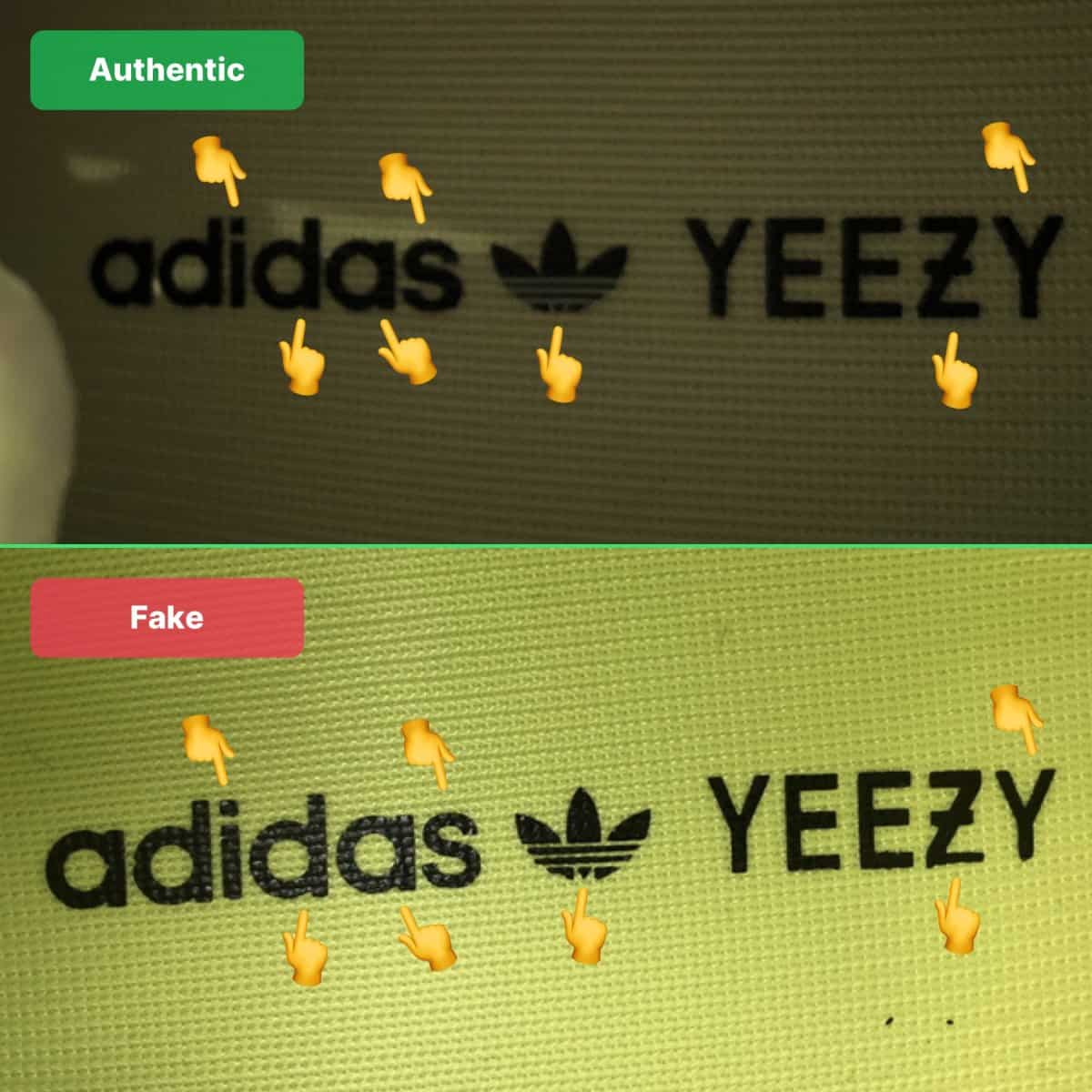 real vs fake yeezy