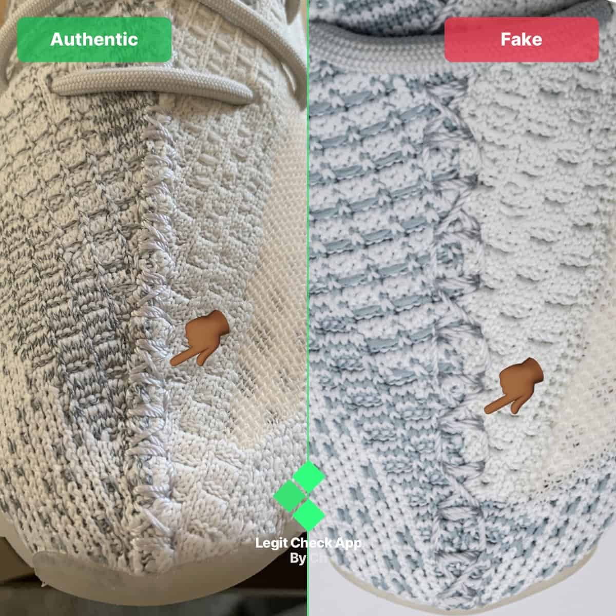 fake vs real yeezy cloud white