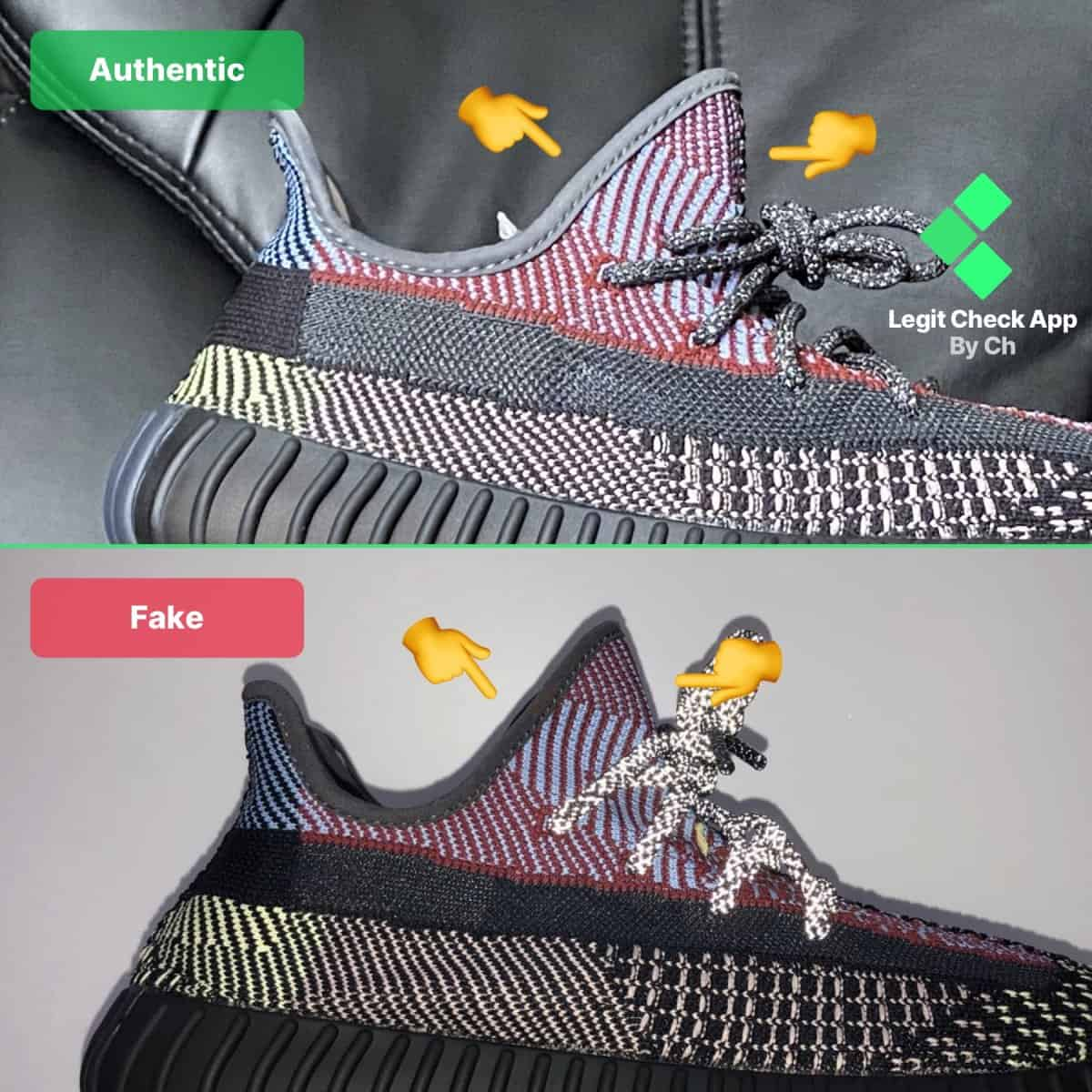 yeezy yecheil fake vs real