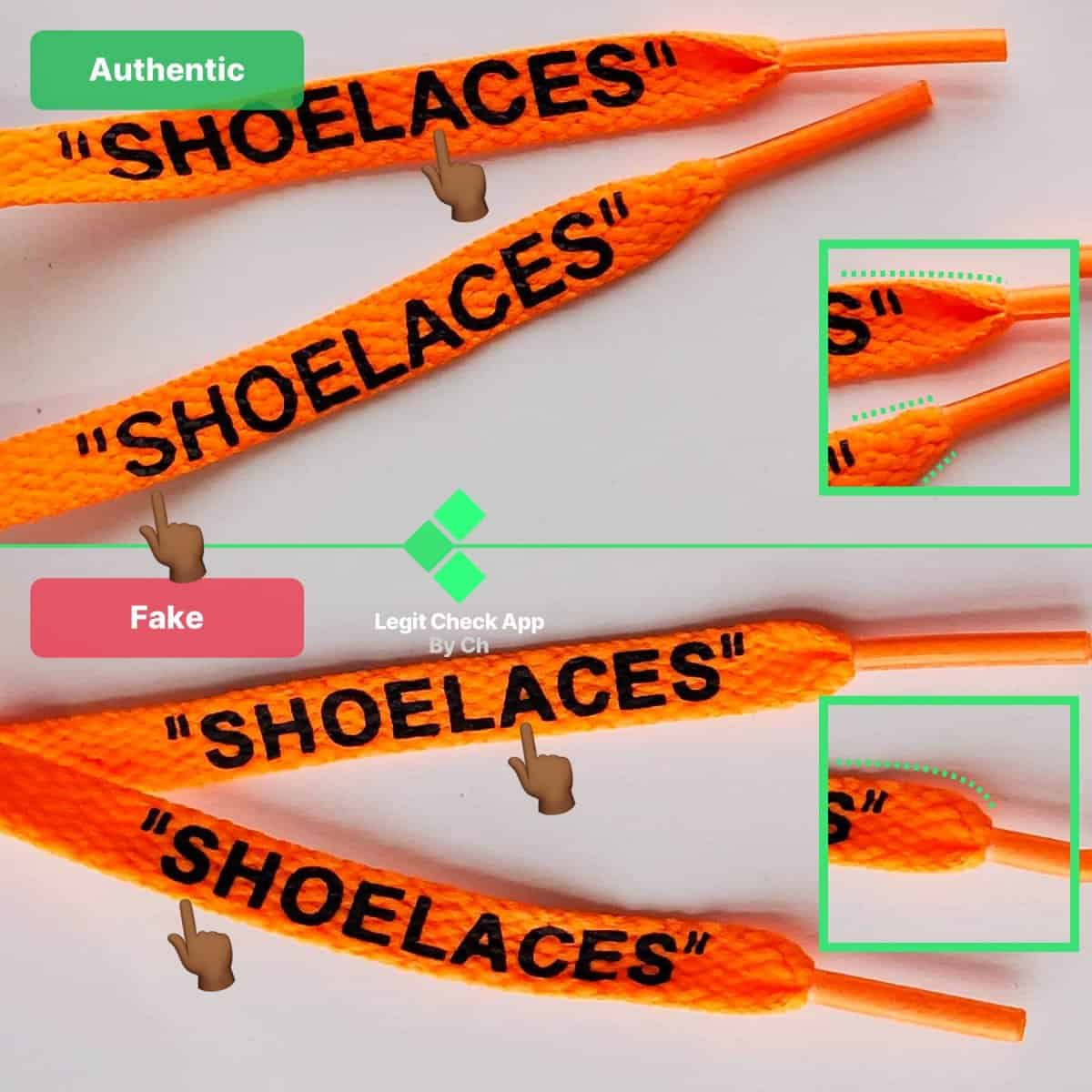 real vs fake shoelaces off white