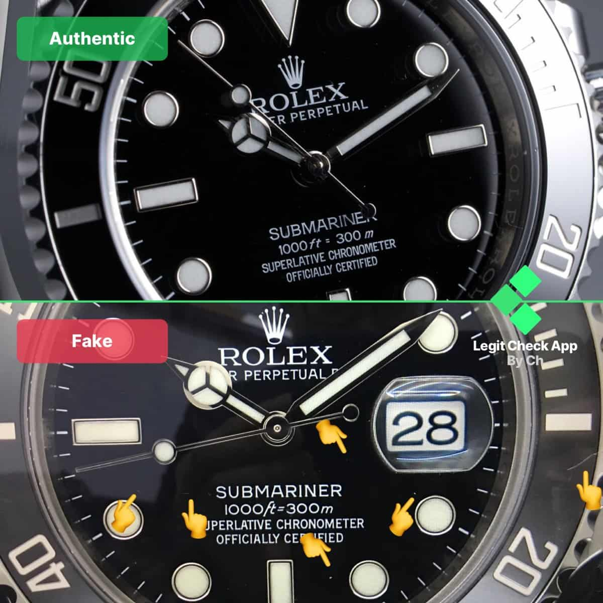 real vs fake rolex submariner