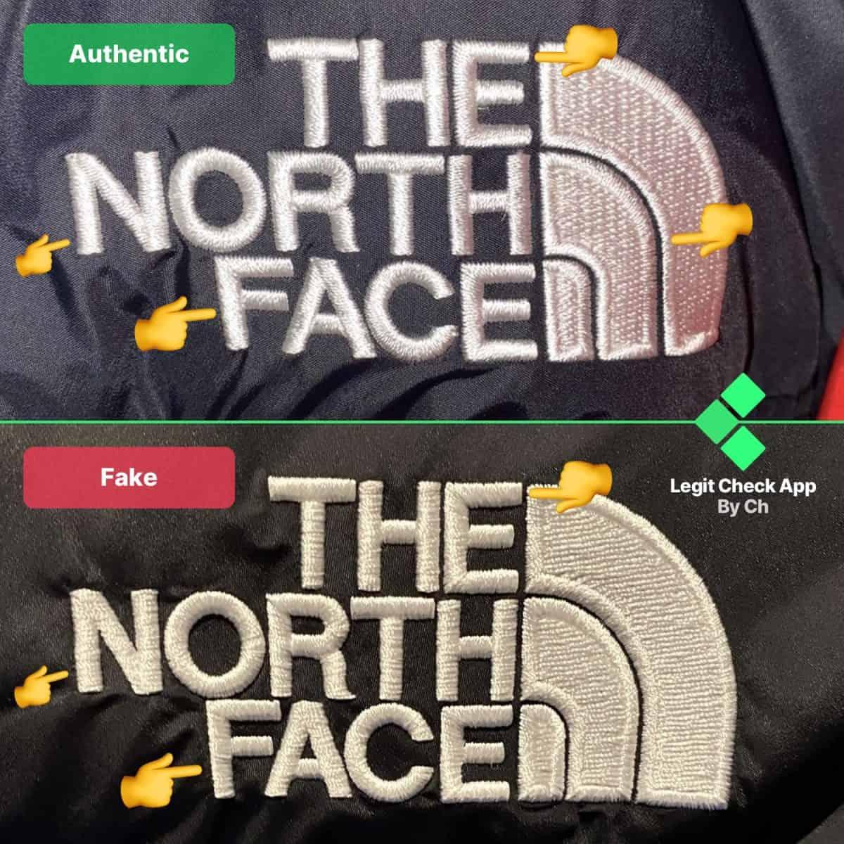 fake vs real tnf 1996 nuptse jacket